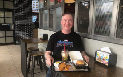 First Vic Carl's Jr. customer still smiling!